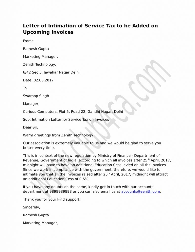 Letter of intimation of service tax to be added on future invoices sample format service tax letter added upcoming invoices spiritdancerdesigns Images