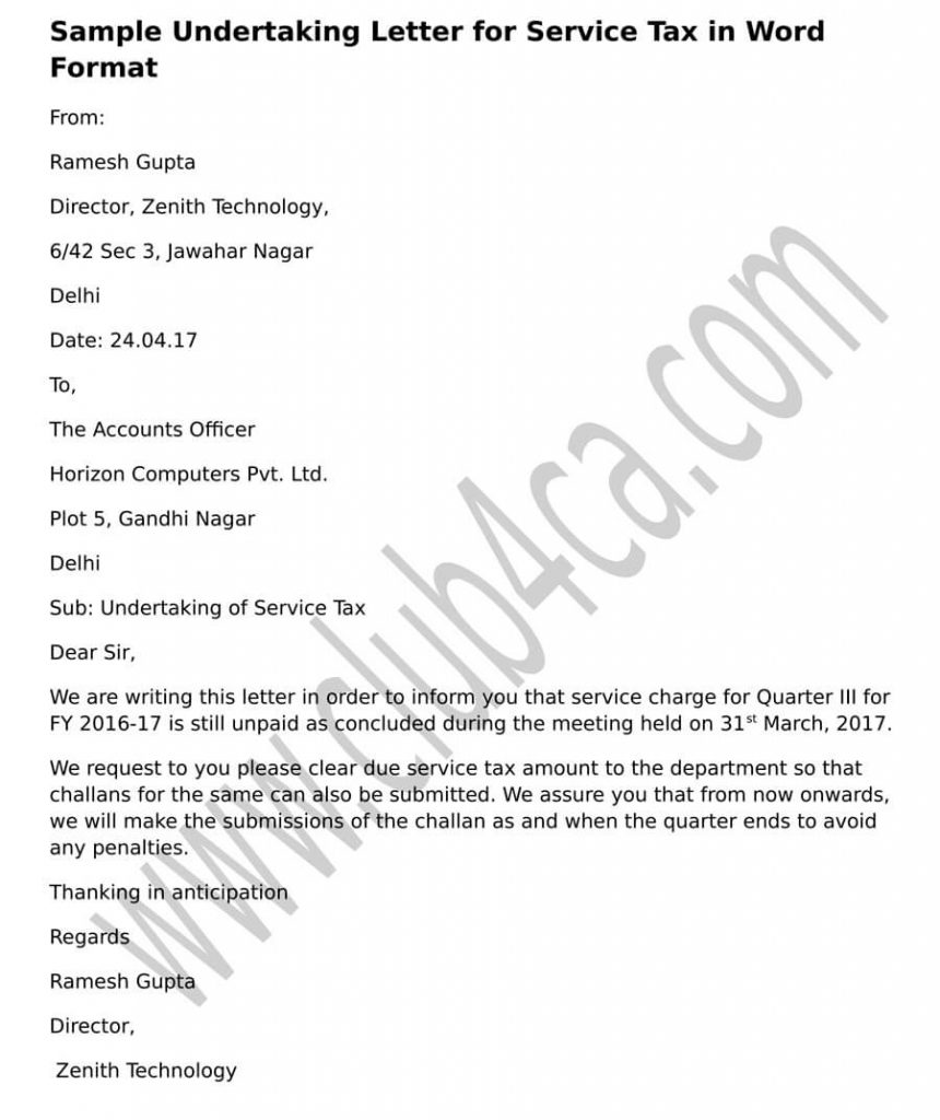 Sample Undertaking Service Tax Letter Word Format