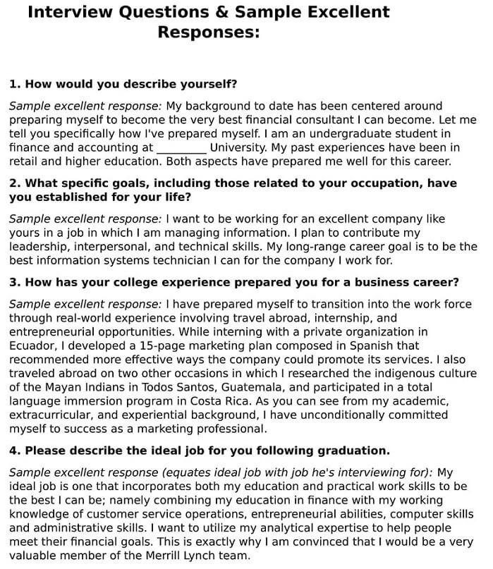 Job Interview Questions U0026 Sample Excellent Responses