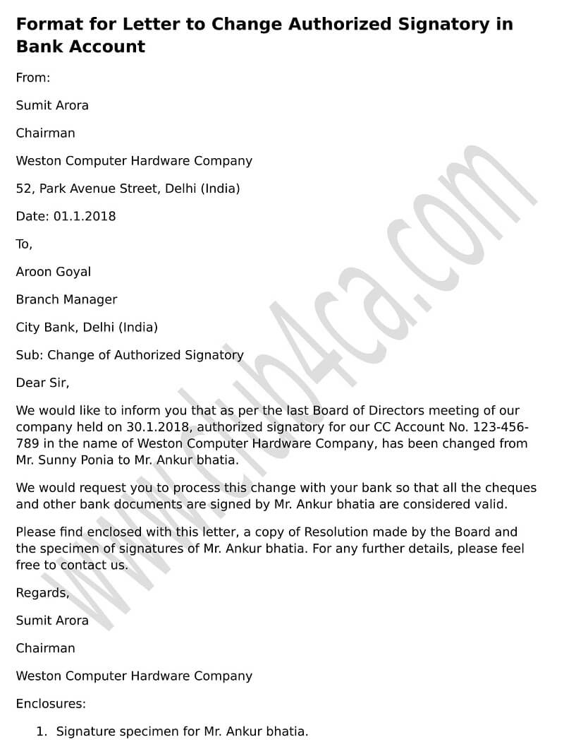 Board resolution letter sample for removal of authorised for Letter of resolution template