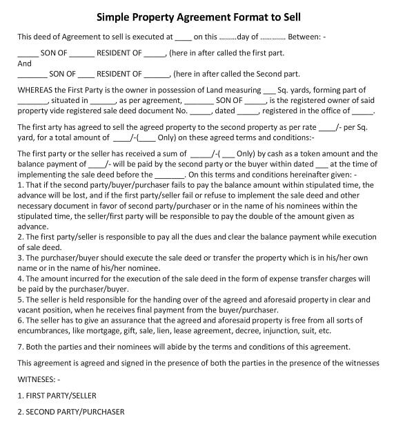 Simple Property Agreement Format To Sell  Purchase  Sale Agreement