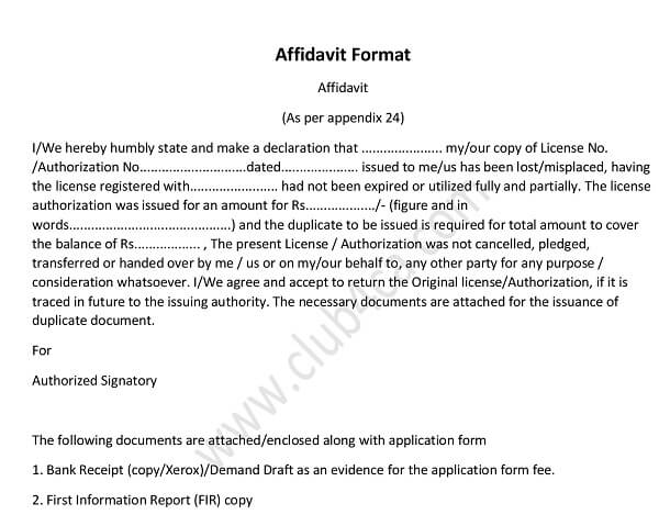 Download Affidavit Format Application, Issue Of Duplicate Export Licence, Sample Affidavit Format