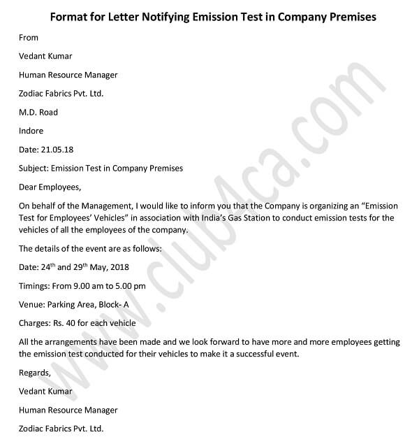 sample Format for Letter Notifying Emission Test in Company Premises