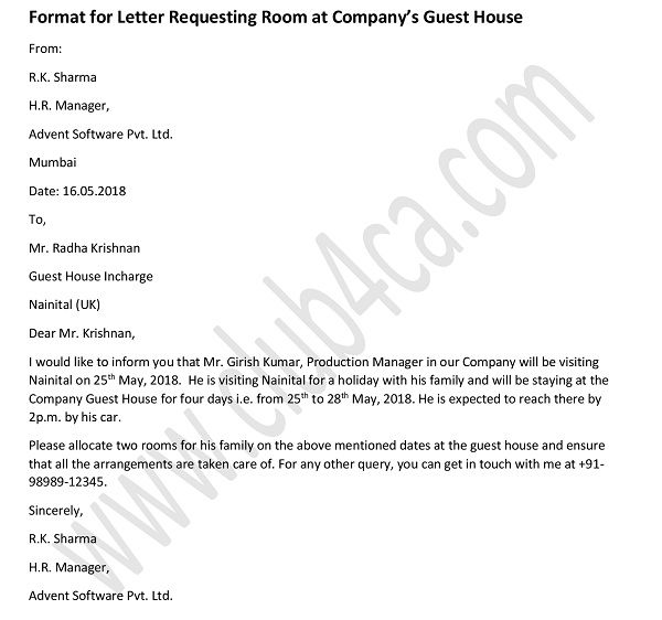 Formal Letter to Request A Room in Company Guest House