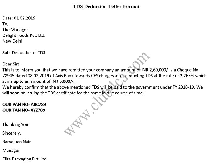 TDS Deduction Letter Format in Word - Sample Template Letter