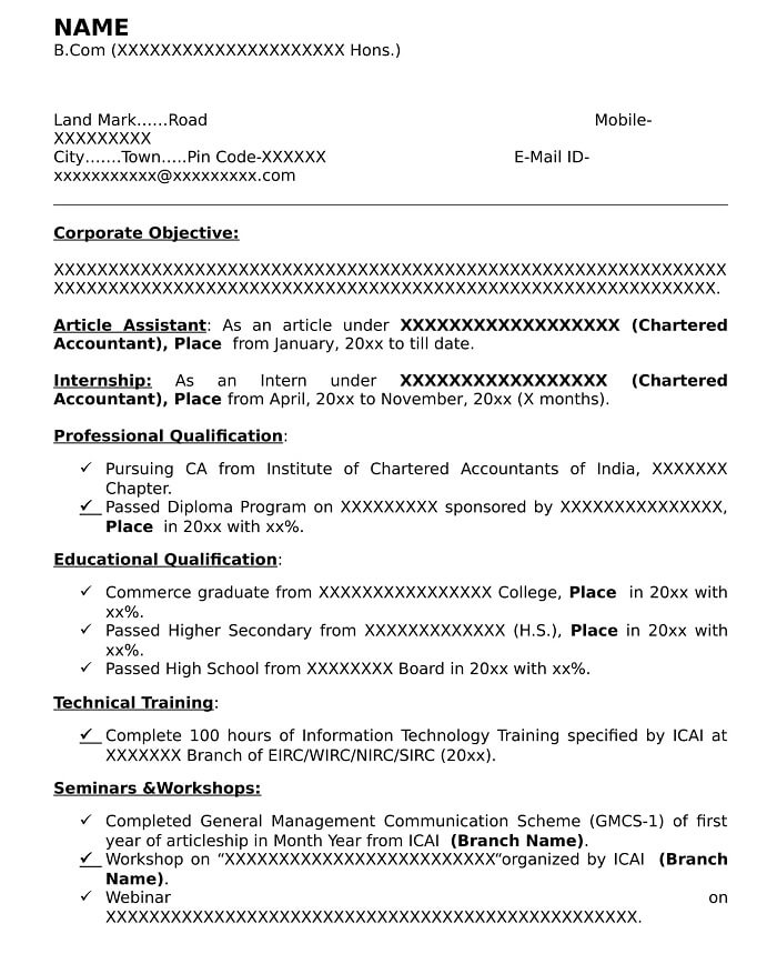 Cv Format For Ca Article Assistant Sample Resume