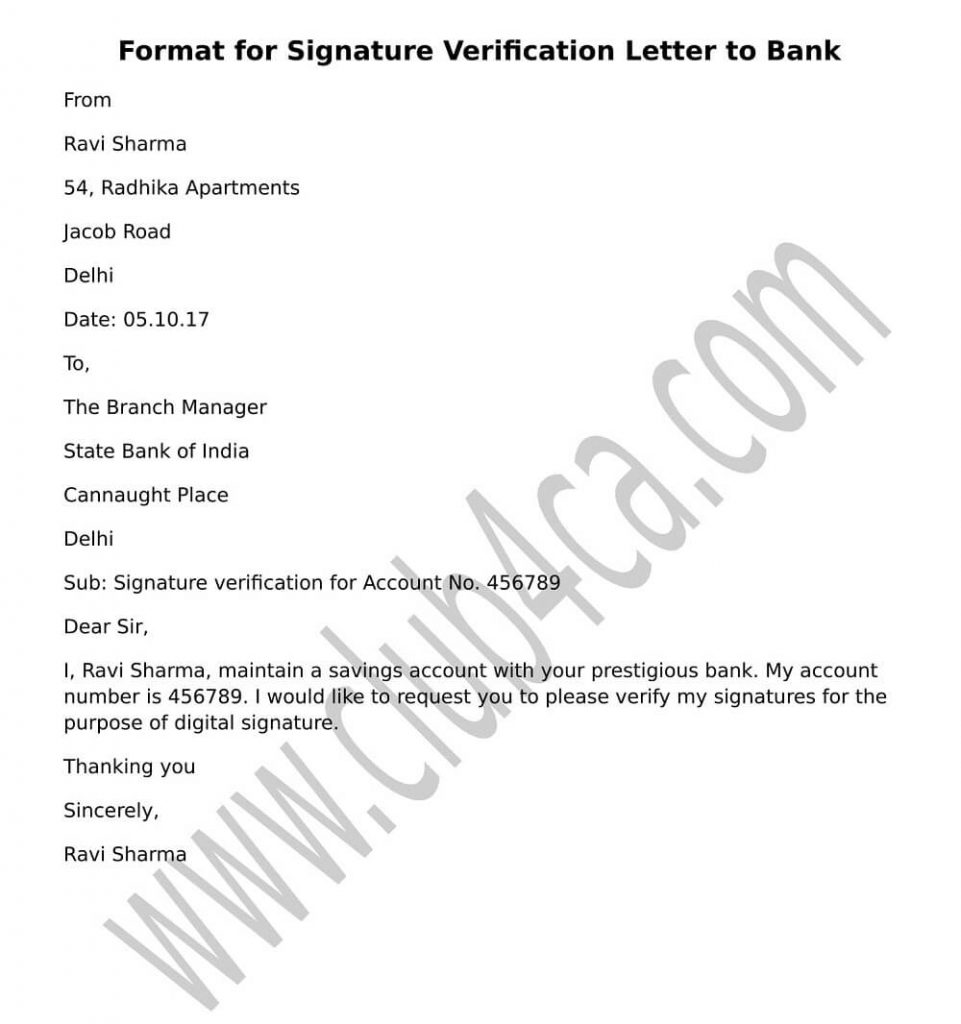 Format for Signature Verification Letter to Bank