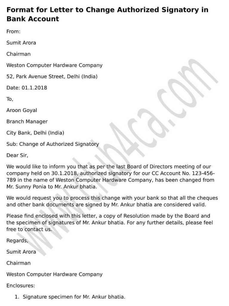 change authorized signatory bank account letter format