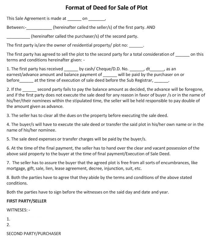 Sale Deed for a Plot of LandFormat, simple sale deed format word, agreement