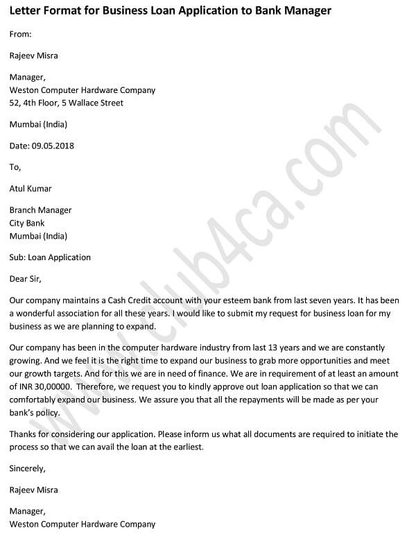 Sample Letter Format for Business Loan Application to Bank Manager