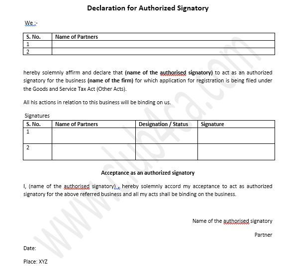 GST Declaration for Authorized Signatory Format, GST Declaration Word Format