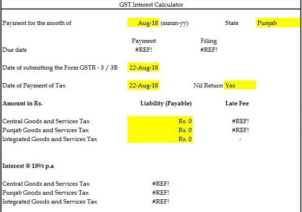 GST Interest and Late Fee Calculator Download in Excel Format