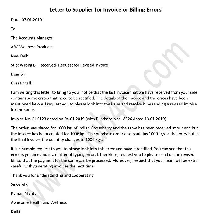 Letter to Supplier for Invoice or Billing Errors format
