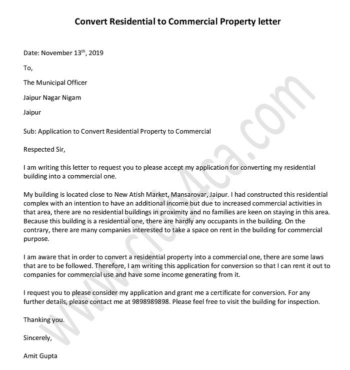 Convert Residential to Commercial Property Letter