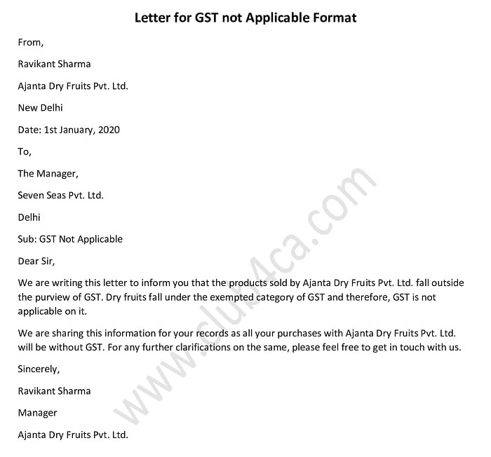 letter for gst not applicable sample format
