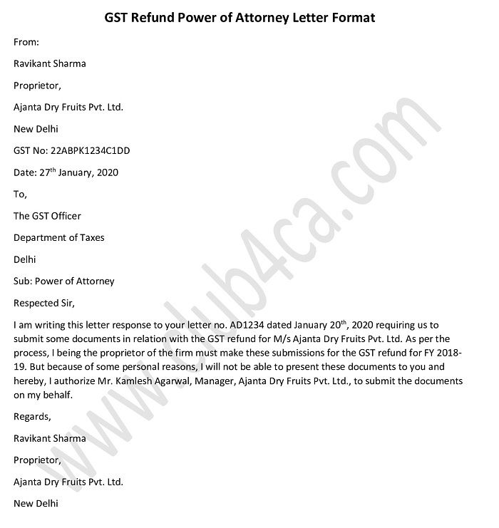 GST Refund Power of Attorney Letter format