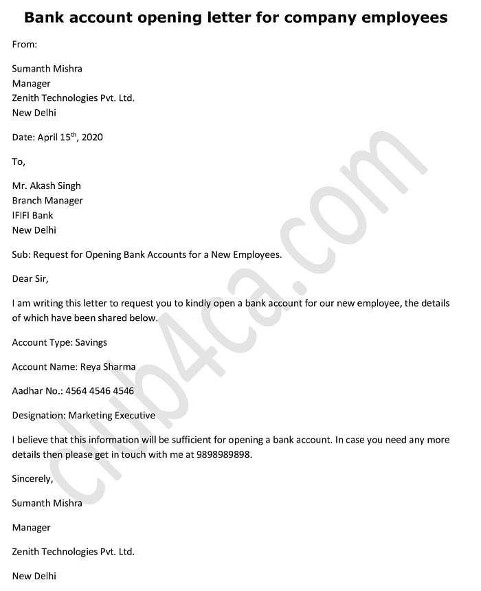 Bank account opening request letter for company employees