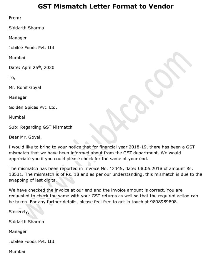 Letter to Vendor for GST Mismatch - GST Letter Format