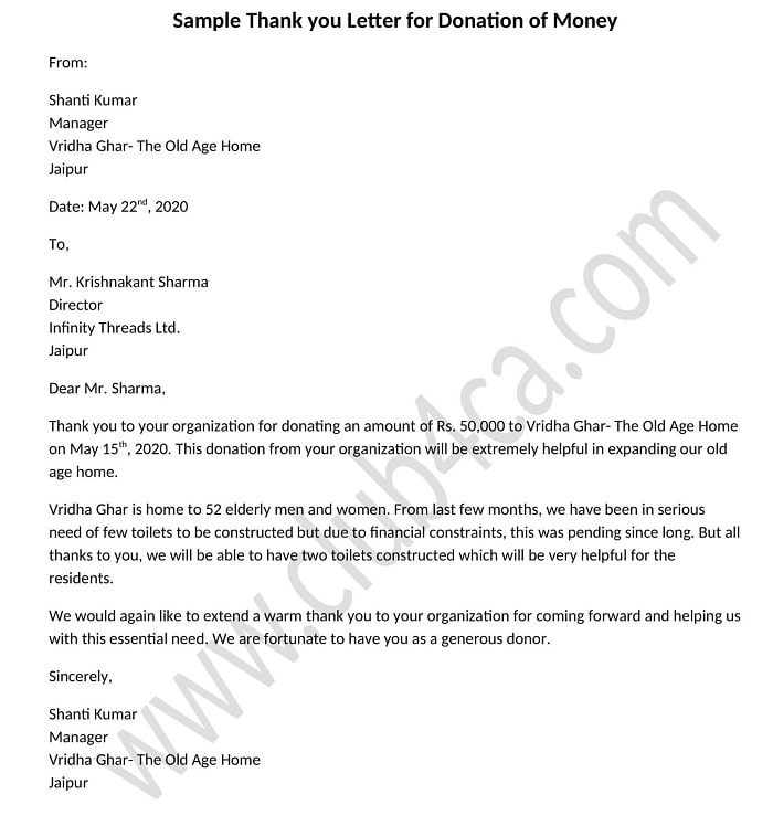 Thank you Letter for Donation of Money