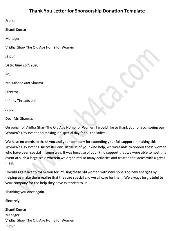 Thank You Letter for Sponsorship Donation Template, Donation Letter Sample