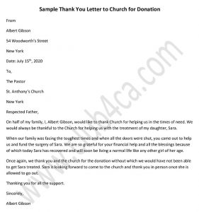 Church Donation Thank You Letter Template in PDF, DOC, Sample Donation Letter