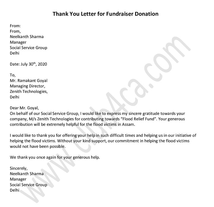 Thank You Letter for Fundraiser Donation - Donation Letter Template