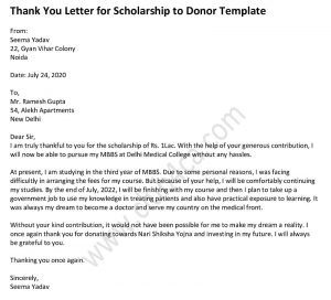 Thank you letter for scholarship donation, Scholarship Thank You Letter