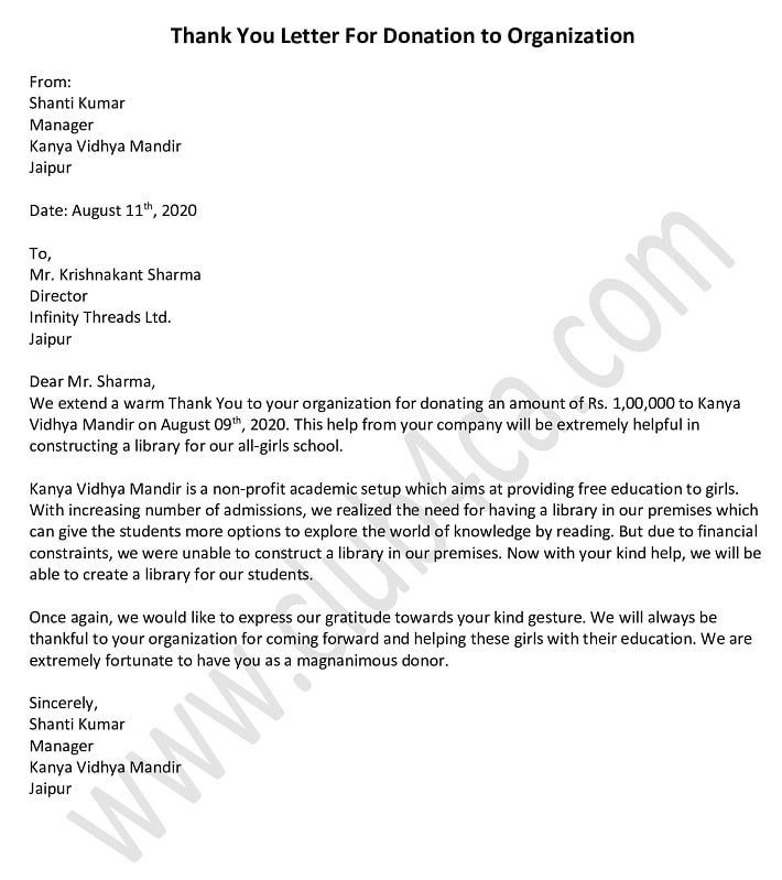 Thank You Letter For Donation to Organization, Donation Letter Template