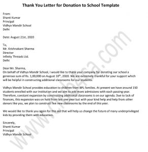 Donation Thank You Letter for School, Donation Letter Sample