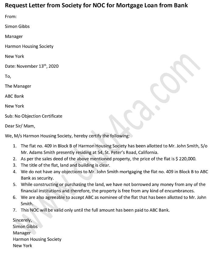 Request Letter from Society for NOC for Mortgage Loan from Bank